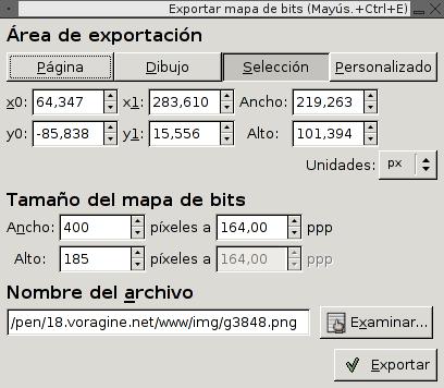 Inkscape, exportación a mapa de bits (PNG)