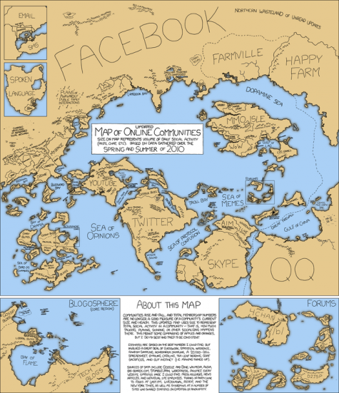 Los países de internet. En el mapa la superficie de cada país equivale al volumen de actividad generado diariamente por la comunidad a la que representa.