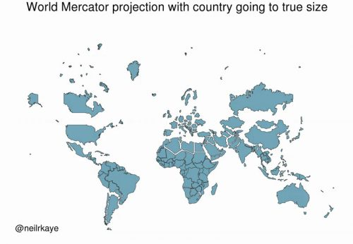True size of each country using Mercator projection in relation to all the others