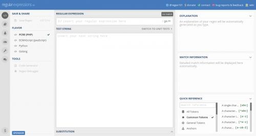 Captura de pantalla de regex101.com