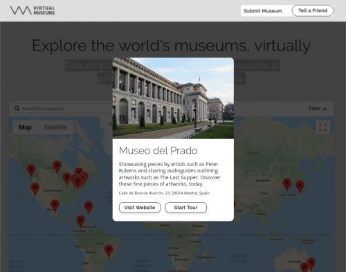 Captura de pantalla de virtualmuseums.io