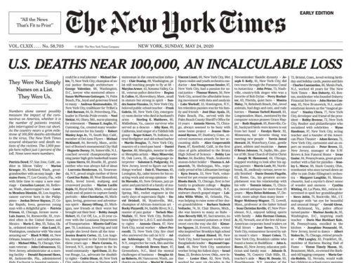 Portada 24 de mayo 2020 del New York Times