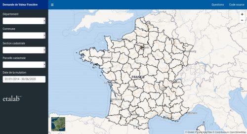 Captura de pantalla de app.dvf.etalab.gouv.fr