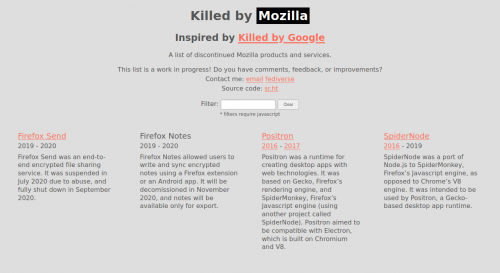Captura de pantalla de Killed by Mozilla